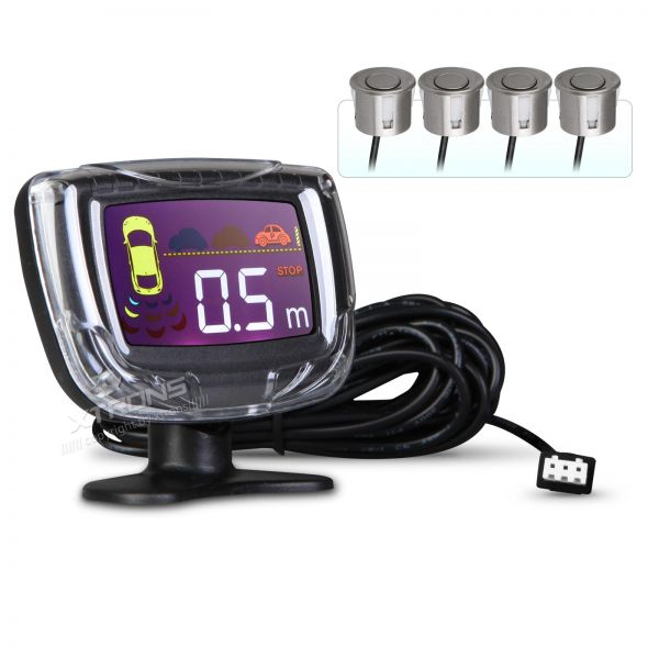 Intelligent Parking Assistant System with 4 MID Grey Ultrasonic Rear Sensors